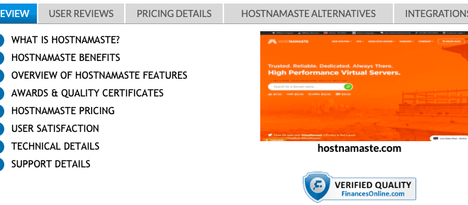 HostNamaste has Awarded Two 2019 Rising Star and Premium Usability Awards at FinancesOnline.com