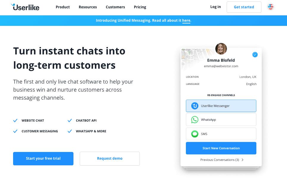 Userlike - Top 10 Free Live Chat Softwares for Hosting Providers - HostNamaste