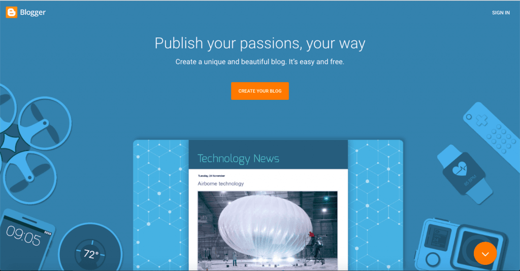 Blogger - Top 10 Free Blogging Platforms to Start a Blog - HostNamaste