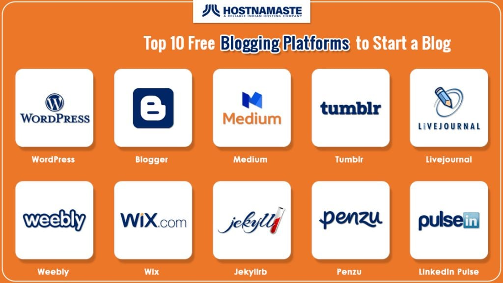 Top 10 Free Blogging Platformsto Start a Blog - HostNamaste