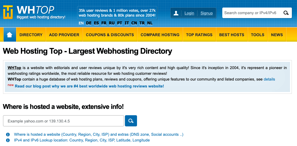 WHTop - Top 10 Web Hosting Review Sites - HostNamaste