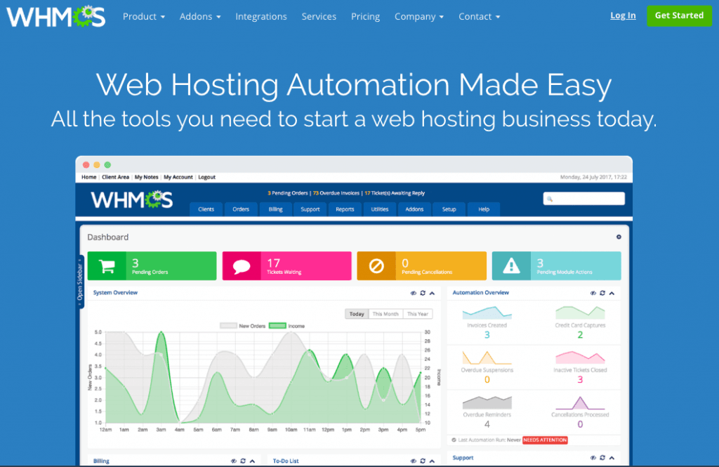 WHMCS - Top 10 Web Hosting Billing Softwares and Automation Platforms for Web Hosting Providers - HostNamaste