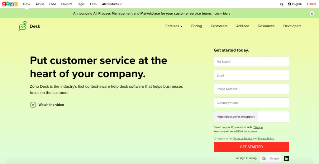 Zoho Desk - Top 10 Free Open Source HelpDesks and Ticketing Softwares - HostNamaste
