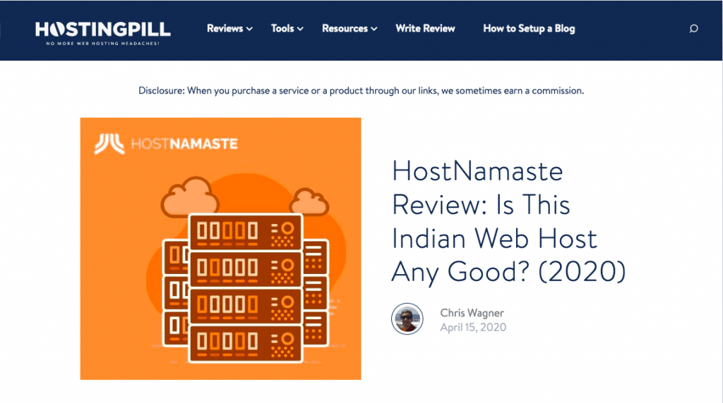 HostNamaste Featured On hostingpill.com - Is This Indian Web Host Any Good? - HostNamaste
