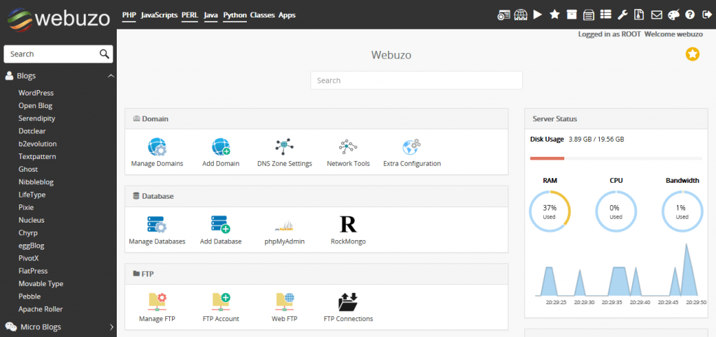 Webuzo - Top 5 Paid Web Hosting Control Panels to Manage VPS and Dedicated Servers - HostNamaste