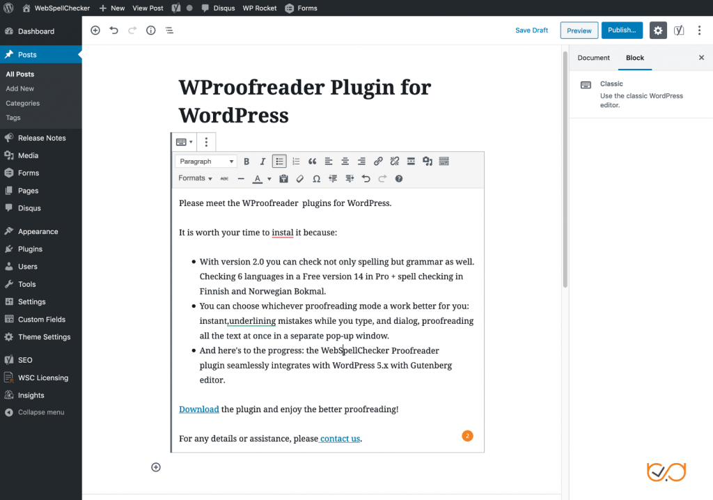 WProofreader - Top 10 Essential WordPress Plugins for Writers and Writing – HostNamaste