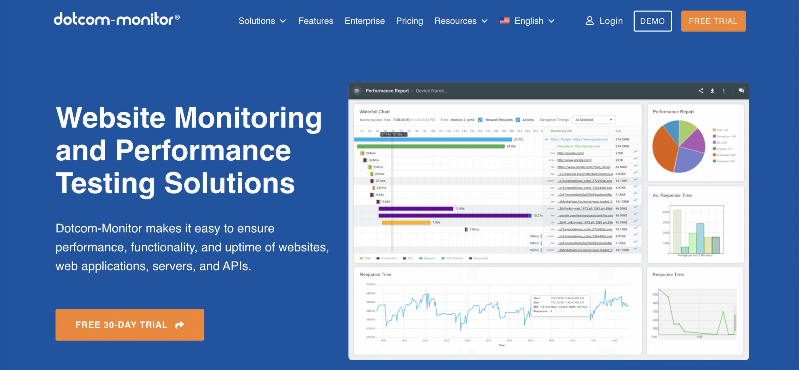 Dotcom-Monitor - Top 10 Best Website Monitoring Services of 2021 - HostNamaste
