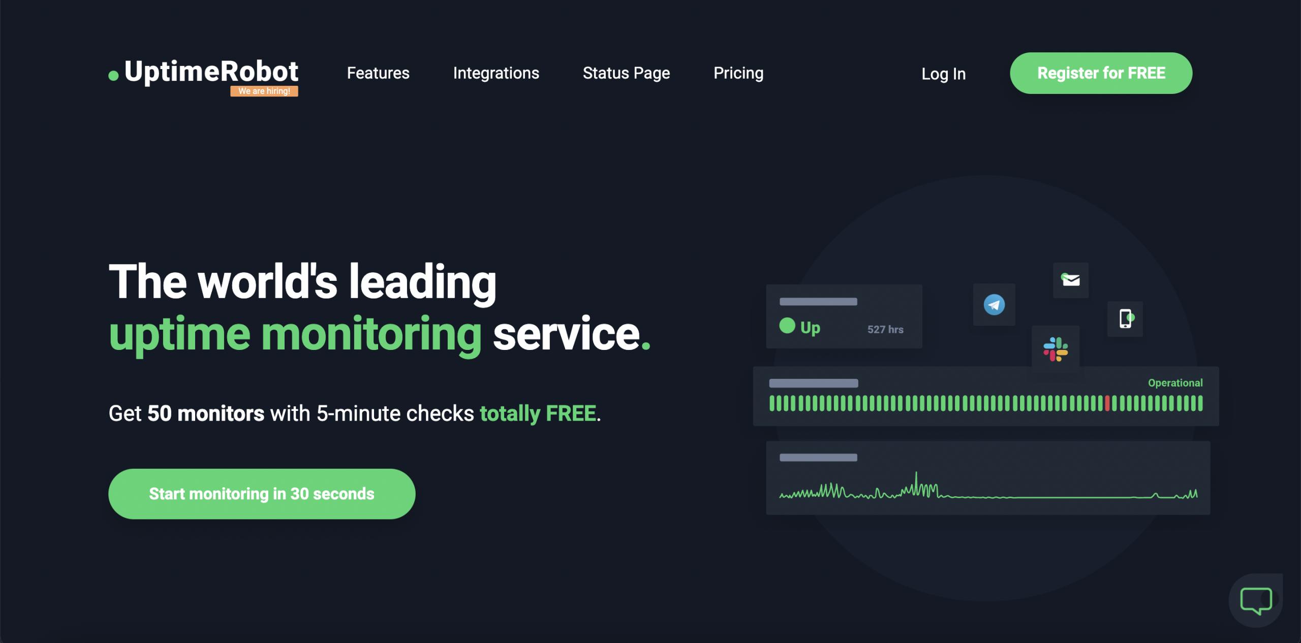 UptimeRobot - Top 10 Best Website Monitoring Services of 2021 - HostNamaste