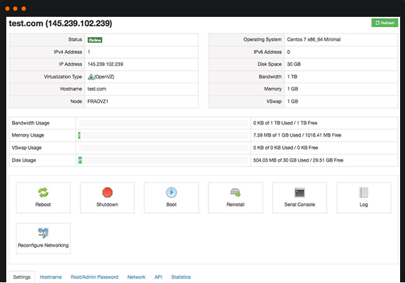 SolusVM VPS Management Control Panel